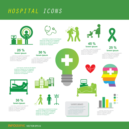 vector doctor and hospital icon set
