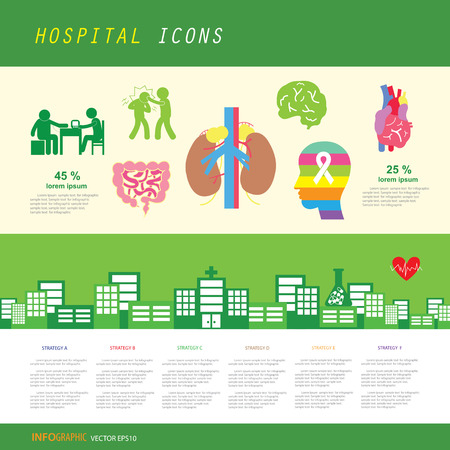 vector anatomy and hospital icon set