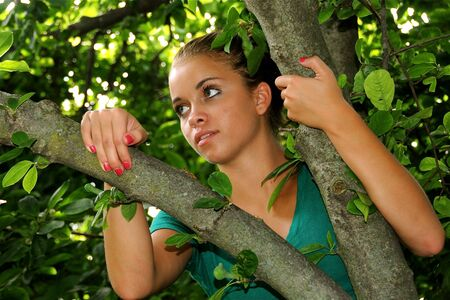 A teenage girl looking out from atop a tree. photo