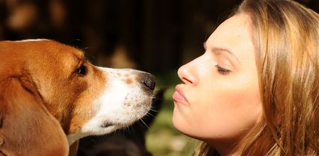 dog pose: A beautiful girl enjoying a moment with her best friend. Stock Photo