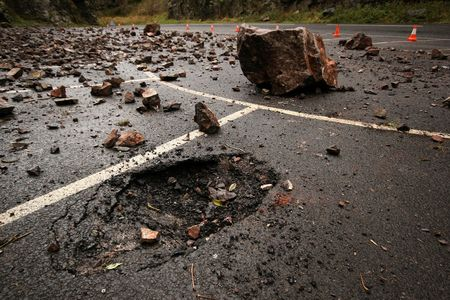 landslip: Rock fall with crater in Cheddar Gorge Stock Photo