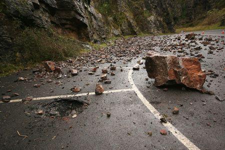 landslip: Fallen rocks in Cheddar Gorge in Somerset