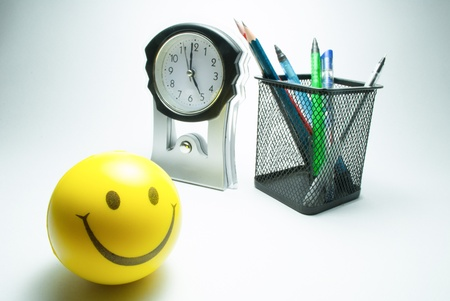 smiley ball  table clock and stationary photo