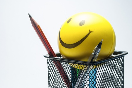 smiley ball  and table clock photo