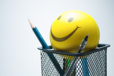 smiley ball  and stationary photo