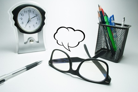 glasses table clock and pen stand with comment boxes photo