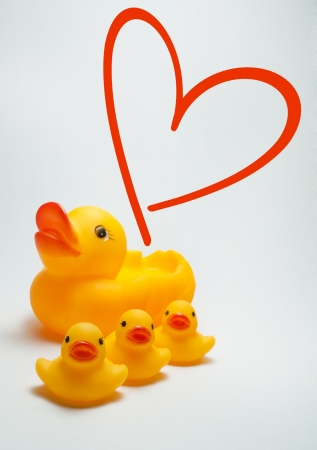 duck and ducklings with love symbol photo