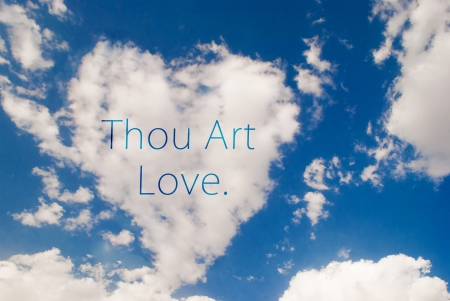 thou: love symbol shaped cloud with thou art love text Stock Photo