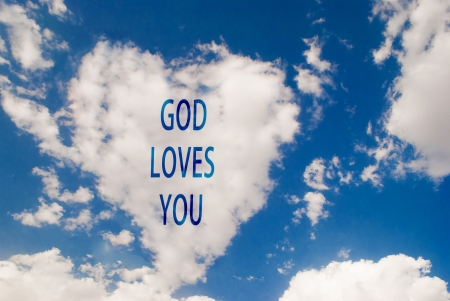 love symbol shaped cloud with god loves you text