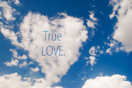 true love: love symbol shaped cloud with true love text Stock Photo