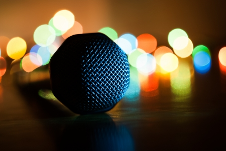 Abstract  image of microphone with lights in background  Macro with extremely shallow dof  photo