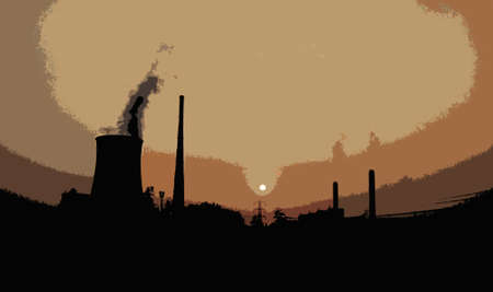 nuclear smoke coming out of industry illustration cutout Stock Illustration - 21410565