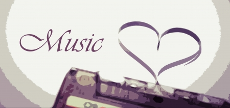 love symbol and music text illustration Stock Photo