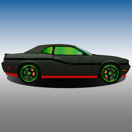 Old muscle car with a khaki body and green disks Иллюстрация