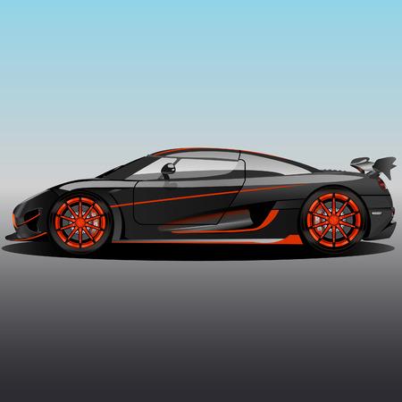 Sports supercar with a gray-orange body and orange discs Illusztráció