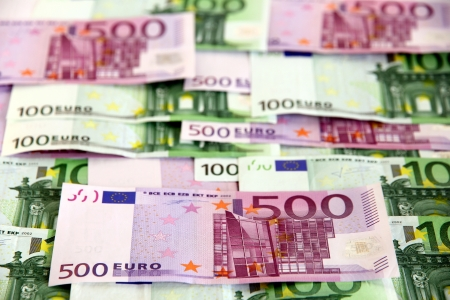 eurozone: Arranged bunch of 100 and 500 euro banknotes (European Union)