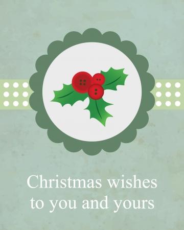 hollywood christmas: Holly Flower Christmas Card Illustration