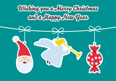 Christmas Card with 3 hanged ornaments - Santa Claus, Christmas tree, candy. Text: Wishing you a Merry Christmas and a Happy New Year  Vector
