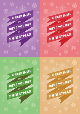 best wishes: Greeting and Best Wishes for Christmas - Christmas Card in 4 Color Variants