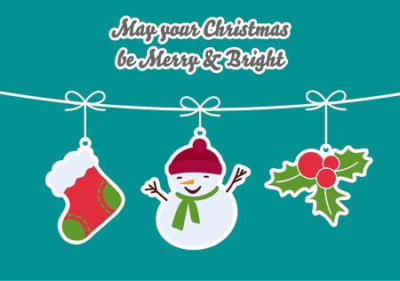 Christmas Card with 3 hanged ornaments - Christmas socks, Snowman, Holly. Text: Wishing you a Merry Christmas and a Happy New Year  Vector