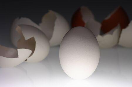 White egg and broken shells 版權商用圖片