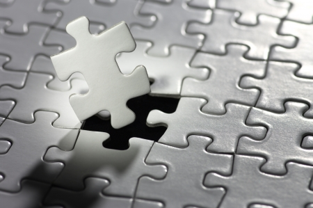 水平方向の照らされたパズルのピース 写真素材