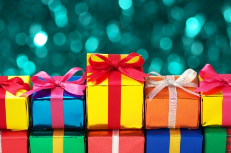 lining up: Lining up colorful gifts  Stock Photo