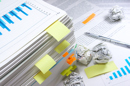 Heap of work  Stack of documents Stock Photo - 25828424