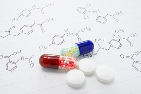 pharmacology: Medicines and structure formula  Pharmacy image  Stock Photo
