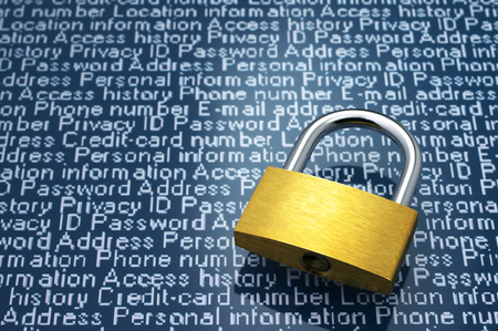 Security concept  Protection of personal information  Padlock and personal information with copyspace