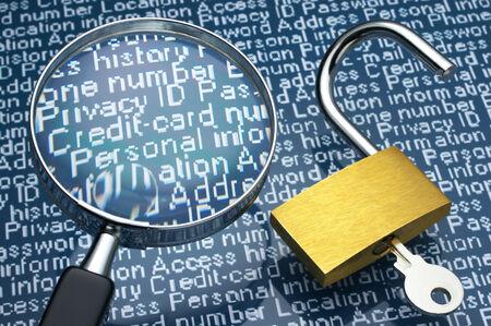datos personales: Hacer furtivamente un vistazo a la información personal Candado abierto y lupa
