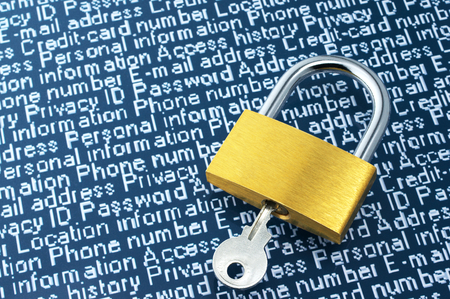 cyber defence: Concept image of internet security  Padlock and personal information with copyspace  Stock Photo