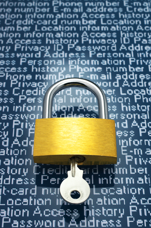 identity protection: Protection of personal information  Padlock and personal information   vertical