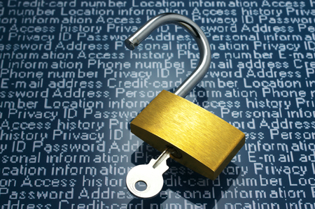 private information: Concept image of security vulnerability and information leaks   Unlocked padlock and personal information  Stock Photo