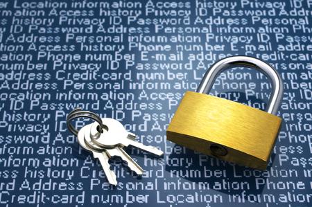 Security concept  Protection of personal information  Padlock, keys and personal information with copyspace  Archivio Fotografico