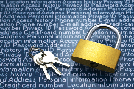 cyber defence: Security concept  Protection of personal information  Padlock, keys and personal information with copyspace  Stock Photo