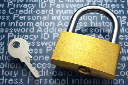 Concept image of internet security  Padlock, key and personal information