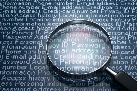 datos personales: Hacer furtivamente un vistazo a Lupa informaci�n personal y la informaci�n personal