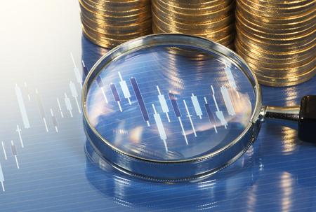 lupa: Analizar la carta con lupa. Estudio de investigación de mercado. Gráfico de la lupa y la pila de monedas.