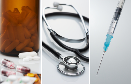 Health care and medical treatment. Capsules, tablets and medical tools. Stethoscope, syringe, and many medicines.