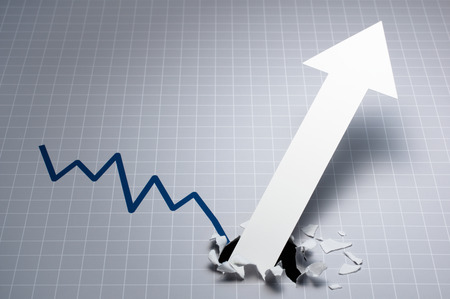 business symbols metaphors: Dynamic growth chart.?Upward arrow breaking through the graph. Gray line chart and white large arrow. Stock Photo