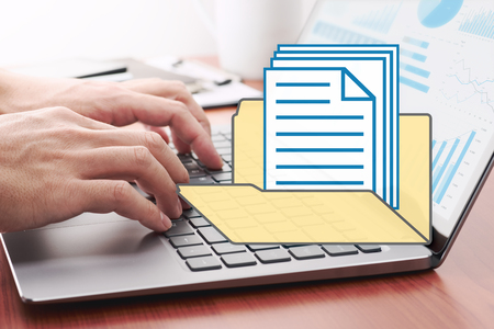 Computer documents management concept. Businessman preparing reports. Files and folder icon.
