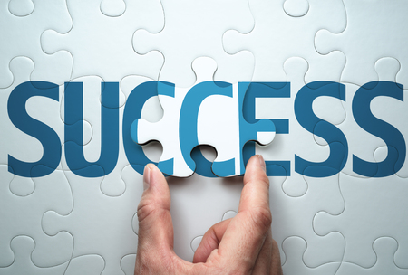 Succeed in solving problem. Concept image of success.