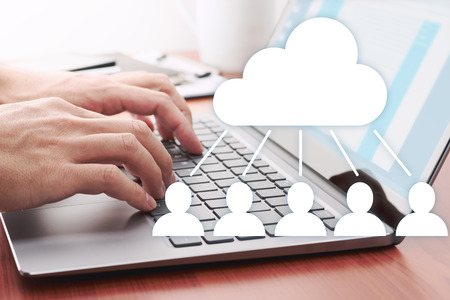 Cloud computing concept. Sharing file on server.