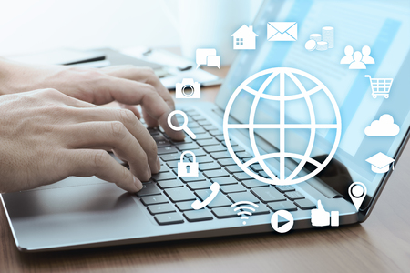 Using online services concept. Internet technology and social media. 