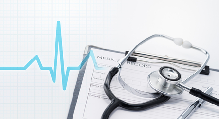Medical care and life concept. Cardiogram and Stethoscope on medical record.
