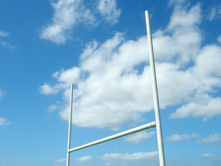 uprights: rugby posts on a blue sky background