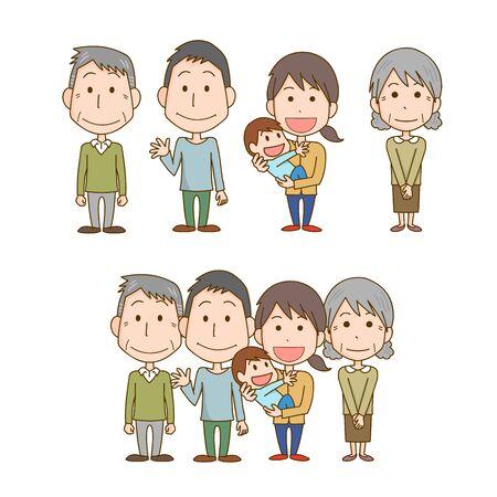 3 generation family illustration
