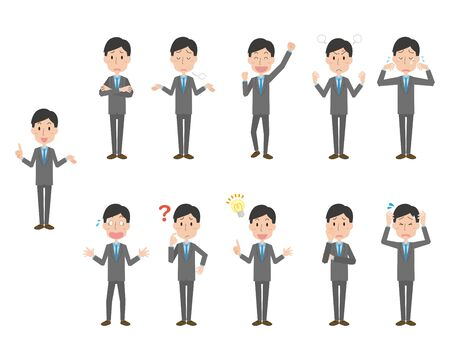 Illustration of pose set of office worker in suit