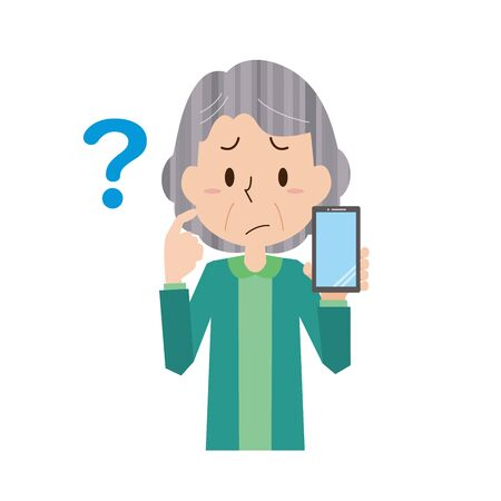 Illustration of an elderly woman who does not understand the operation of a smartphone